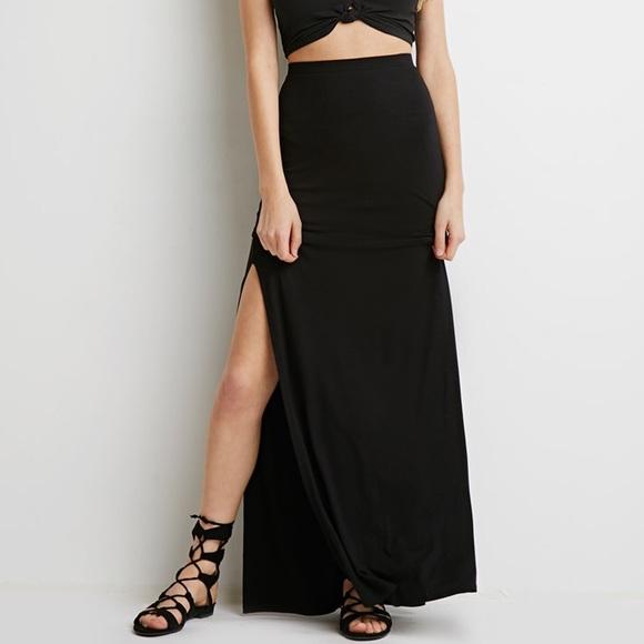 c68f1ff4dc Express Dresses & Skirts - Express High Waisted Black Side Slit Maxi Skirt